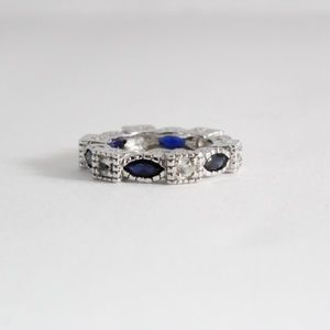 Jewelry - Sterling Blue Sapphire Eternity Band Ring 6.25